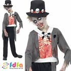 HALLOWEEN ZOMBIE BLOODY GROOM + HAT - age 7-13+ - kids boys fancy dress costume