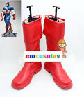 Made for Captain America Cosplay Red leather long Fshion shoes/ boots H-Q New