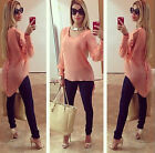 Women's Loose Long Sleeve Chiffon Casual Blouse Shirt Tops Blouse Pink Fashion