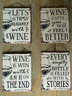 Shabby Chic Metal Wine Saying Plaque - 4 Designs