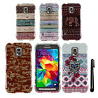 For Samsung Galaxy S5 Active G870A PATTERN HARD Protector Case Phone Cover + Pen