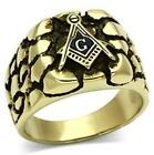 New ALL SIZES P - Z+1 8 - 13 Nugget Masonic Ring Yellow Stainless Steel LTK778E
