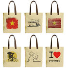 Vietsbay's Vietnam Culture Symbols Graphic Canvas Tote Bags with Leather Handles