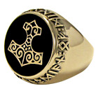 Large Bronze Thor's Hammer Mjollnir Signet Ring Norse Viking God Asatru Jewelry