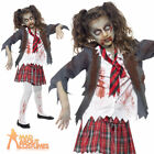 Zombie School Girl Costume Child Halloween Horror Fancy Dress Outfit Ages 7 - 13
