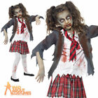 Child Zombie School Girl Costume Halloween Fancy Dress Ouftit Ages 7-13