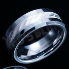 8MM Tungsten Carbide Sterling Silver Inlay Mens Womens Wedding Band Bridal Ring