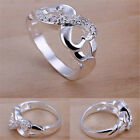 Womens New Jewelry Silver Plated Crystal Band Solid Ring US Size Jewels