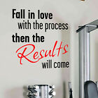 RESULTS WILL COME Wall Decal Quote Gym Kettlebell Exercise Yoga Fitness Diet