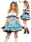 Ladies Sexy Leg Avenue Rebel Alice In Wonderland Costume Halloween Fancy Dress