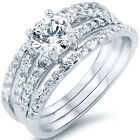 925 Sterling Silver Clear CZ Engagement Wedding 3 in 1 Band Ring Set Size 3-11
