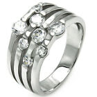 925 Sterling Silver Open Cut Lines Round Clear CZ Promise Wedding Ring Size 3-11