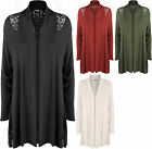 Plus Size Womens Long Sleeve Crochet Lace Back Open Knitted Top Ladies Cardigan