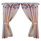 Modern Floral and Stripes 100% Polyester Window Curtain with Tie-Backs