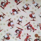 Cream cute Santa Christmas fabric 100 % cotton per 1/2 mtr or per FQ
