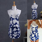 Stylish Summer Beach Sexy Women Bandage Lace Short Mini Dress Floral Print New