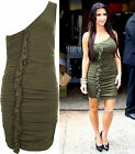 Womens Celeb Ruched Ruffle One Shoulder Stretch Bodycon Ladies Party Dress 8-14