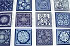 Chinese blue calico kerchief fabric 100%cotton cushion cover placemates handmade