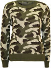 New Womens Camouflage Pattern Long Sleeve Top Ladies Knitted Sweater Jumper 8-14