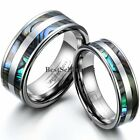 Tungsten Carbide Dual Synthetic Abalone Shell Ring Love Engagement Wedding Band