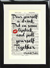 Art Print Antique Dictionary Page Elizabeth Taylor Quote Pull Yourself Together