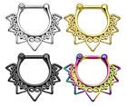 1pc 100% SURGICAL STEEL Tribal Fan Septum Ring Clicker Pierced Nose 16g