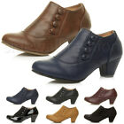 WOMENS LADIES LOW MID HEEL BUTTONS ZIP SMART ANKLE SHOE BOOTS BOOTIES SIZE