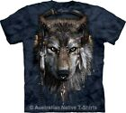 DJ Fen Adults Wolf Tie Dye T-Shirt, Native American Wolves - Size Small to 3XL+