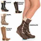 LADIES WOMENS FAUX FUR LINED LACE ZIP FASTENING WEDGE FASHION WINTER BOOTS