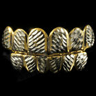 14K Gold Plated DIAMOND CUT Top and Bottom Mouth Teeth Tooth Hip Hop GRILLZ SET