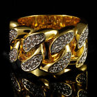 mens cz ring - 18K Gold Plated ICED OUT CZ CUBAN LINK Band Mens Bling Rhodium Ring