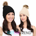 Womens Stretch Beanie Faux Fur Bobble Hat Ladies Beige Black Knitted Pom Pom Hat
