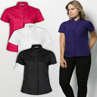 Ladies Womens Plus Size Blouse Shirt Short Sleeve Work Office Formal Mandarin