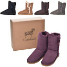 Lambland Ladies Genuine Sheepskin Mid Calf Short Boot with Button Design