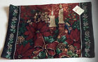 DELUXE XMAS FESTIVE TAPESTRY CHENILLE CHRISTMAS CANDLE RED GOLD GREEN PLACE MATS