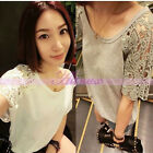 Women Ladies Sweet Hollow Out Lace Flower Batwing Sleeve Tee Loose T-shirt Tops
