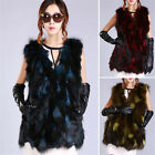 Womens Real Farm Fox Fur Vest Waistcoat Coat Jacket Sleeveless Gilet Thicken