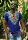Внешний вид - Odeneho Wear Men's Blue Polished Cotton Top/ Dashiki Design. African Clothing