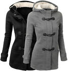 Women Hooded Parka Thick Fleece Warm Winter Coat Overcoat Toggle Long Jacket