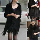 100% Real Genuine Knitted Mink Fur Cape Stole Shawl Scarf  Black Brown