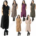 New Womens Italian Waterfall Long Jacket Cape Kim Kardashian Wrap Trench Coat M