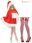 Ladies Sexy Miss Santa Cape Costume + Stockings Womens Christmas Fancy Dress
