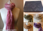 Gift Boxed Ladies Long Length Cotton Lightweight Sparkle Scarf Pink Grey Beige