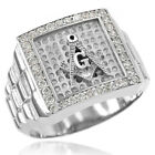 New White Gold Watchband Design Men's Masonic CZ Ring