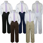 3pc Boy Suit Set Lilac Lavender Necktie Baby Toddler Kid Formal Shirt Pants S-7