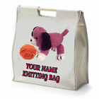 PERSONALISED KNITTING DOG DESIGN ~ WOODEN HANDLED SHOPPING CRAFT HOBBY BAG