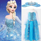 GIRLS DRESS UP COSTUME.FROZEN ELSA PRINCESS SNOW QUEEN FANCY DRESS 3-8YRS UK