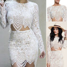 Fashion Women Sheer Embroidery Lace Floral Crochet Shirt Casual Crop Top Blouse