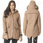 New Womens  Winter Parka Coat Chunky Fur Trim Hooded Twill Jacket