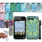For LG Optimus Zone 2 Fuel VS415PP L34C TPU PATTERN SILICONE Case Cover + Pen